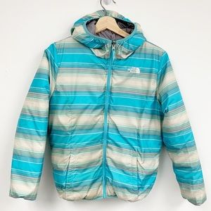 Hooded North Face Puffer reversible jacket Sz L